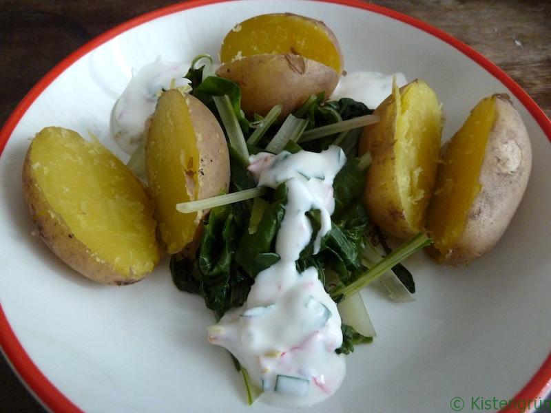 Mangold mit Kräuter-Joghurt-Dip.