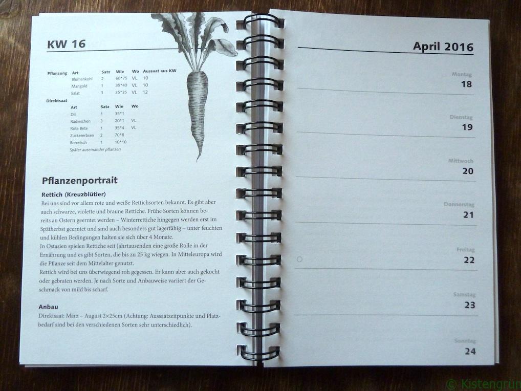 Blick in den Kalender TaschenGarten der GartenWerkStadt Marburg