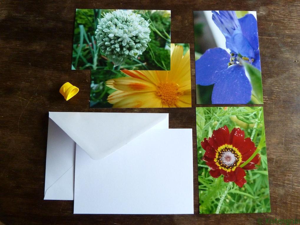 Einkaufliste zum Karten basteln: Blankokarte mit Briefumschlag und Fotos